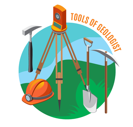 Geological tools measuring device, helmet, shovel, hammer and pick, isometric composition on blue green background, vector illustration Illustration