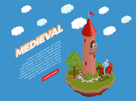 Medieval isometric composition princess on balcony of turret and knight on horse on blue background vector illustration Vectores