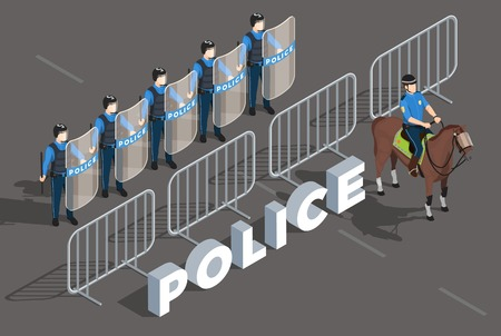 Police isometric composition with law enforcement and people symbols vector illustration