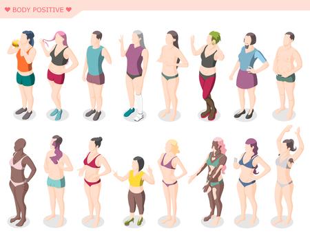 Mouvement de positivité du corps et ensemble de diversité de figures de personnages masculins et féminins vêtus de maillots de bain debout dans l'illustration vectorielle isométrique de ligne