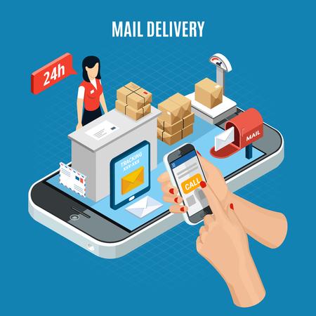 Composition de livraison de courrier isométrique avec une fille derrière le bureau d'information travaille sur l'émission d'une illustration vectorielle de courrier