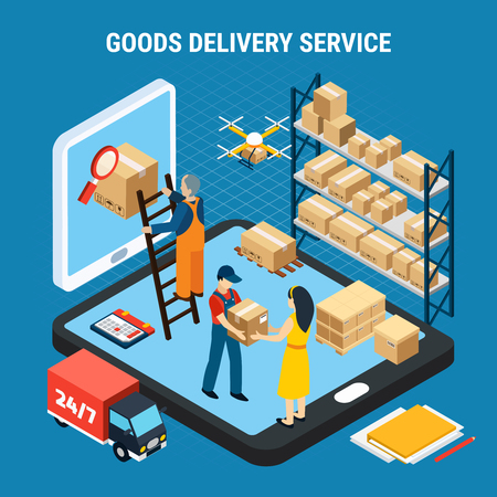 Logistics isometric concept with online goods delivery service workers on blue background 3d vector illustration Stock fotó - 106211981