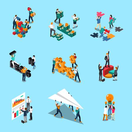 Izometryczne ikony pracy zespołowej zestaw z pomysłami współpracy i symbolami kreatywności na białym tle ilustracji wektorowych
