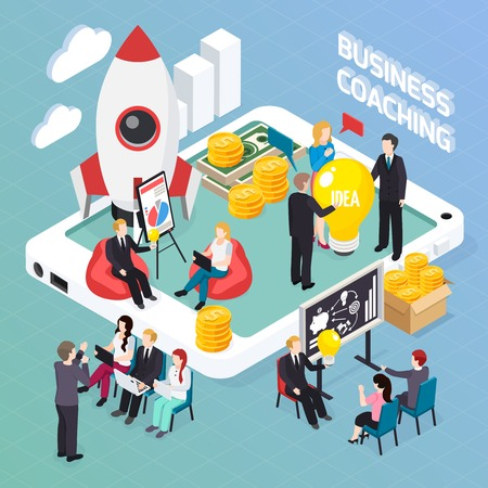 Business coaching isometric composition, creative idea discussion for start up project, mentoring and personnel training vector illustration Illustration