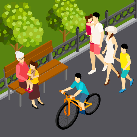 Family summer weekend vacation outdoor isometric composition with walking mom father kids and son cycling vector illustration