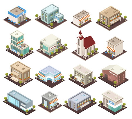 Urban architecture historical and modern public buildings isometric icons set with museum cafe hospital isolated vector illustrations