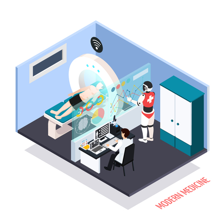 Advanced medical technologies isometric composition with robotic assisted mri scanner diagnostics tests controlled by operator vector illustration