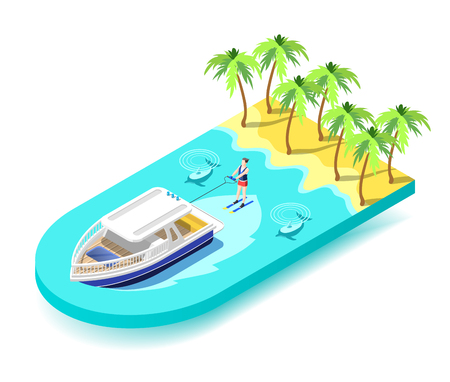 Water sport activity isometric composition with young athletic on vacation riding water ski in tropical sea vector illustration Illustration