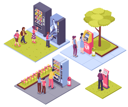 Automatic vending machines outdoor concept 4 isometric images with people buying snacks beverage tickets isolated vector illustration Illustration