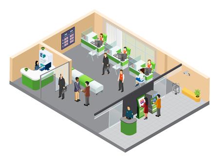 Skład izometryczny banku z wewnętrznym widokiem oddziału banku z pracującymi urzędnikami i ilustracją wektorową ludzkich postaci klienta