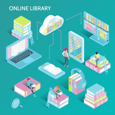 Online library concept isometric symbols set with electronic books catalog cloud storage laptop reader headphones vector illustration Illusztráció