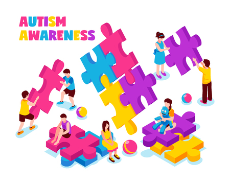 Autism awareness composition kids with colorful puzzle pieces and toys on white background isometric vector illustration Illustration