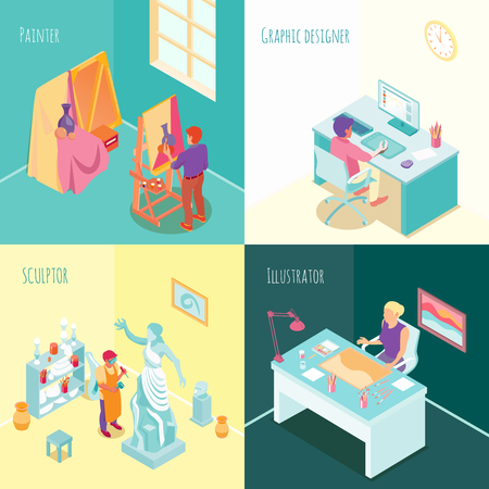 Artist at work concept isometric set with sculptor painter graphic designer and  freelance illustrator isolated vector illustration