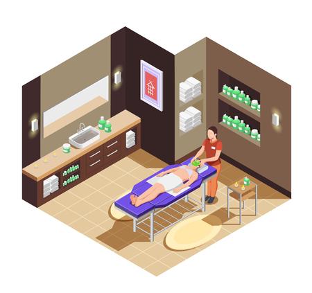 Composition isométrique de salon de beauté spa avec femme allongée sur le lit avec masque pour illustration vectorielle de visage