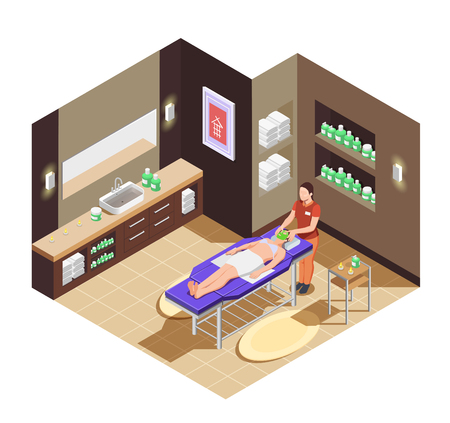 Spa beauty salon isometric composition with woman laying on bed with mask for face vector illustration