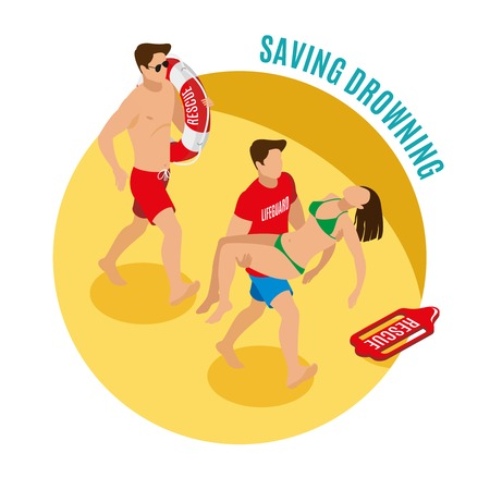 Saving drowning round design concept with two Beach lifeguards holding lifebuoy and saved girl isometric vector illustration Vectores