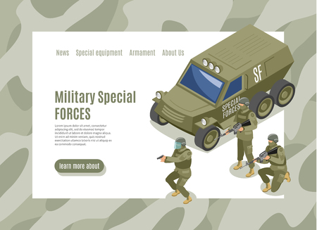Military special forces isometric web page with menu interface and army vehicle with soldiers vector illustration Illustration