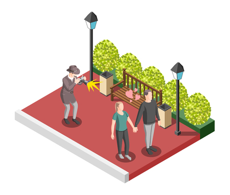 Private detective isometric design concept with man in hat watching for lovers pair and taking compromising photos vector illustration