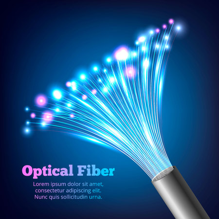 Electric cables optic fibers realistic composition with multicolor bright and gradient effect vector illustration