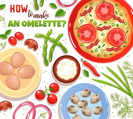 Baking of omelette with ingredients eggs vegetables mushrooms and greenery on white background flat vector illustration
