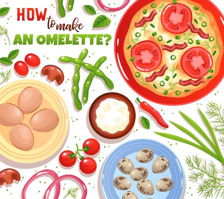 Cuisson de l'omelette avec des ingrédients oeufs légumes champignons et verdure sur fond blanc illustration vectorielle plane