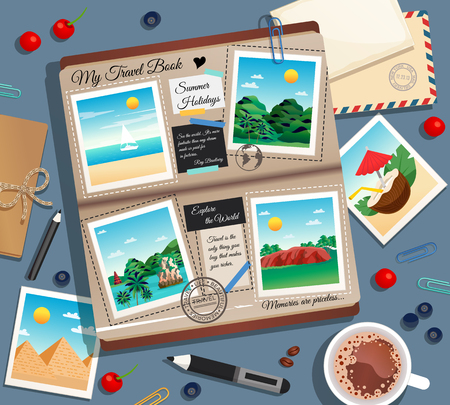Travel memories abstract background with photographs photo album postal envelope and cup of coffee cartoon vector illustration Stock Illustratie