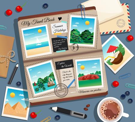 Fondo abstracto de recuerdos de viaje con fotografías, álbum de fotos, sobre postal y taza de café, ilustración vectorial de dibujos animados