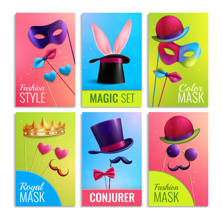 Photobooth cards set with masks and hats realistic isolated vector illustration Illusztráció