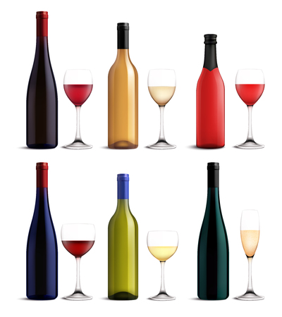 Wine and glass realistic set with red pinkand white wine isolated vector illustration