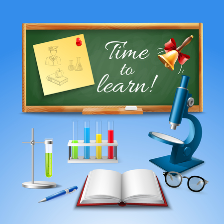 Time to learn realistic vector illustration with microscope blackboard opened textbook accessories for chemical experiments Illustration