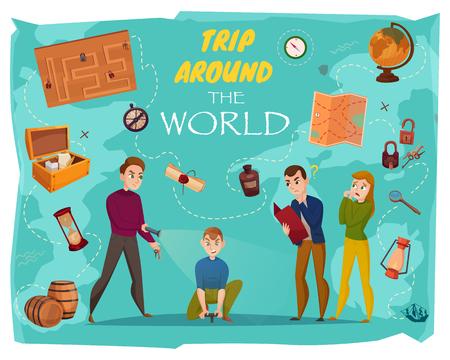 Quest in der Realität Cartoon-Poster mit menschlichen Charakteren, Spielelementen, Weltkarte auf türkisfarbener Hintergrundvektorillustration