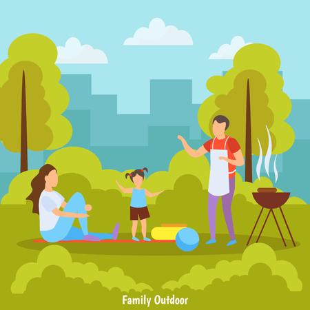 Composition orthogonale d'activités de plein air en famille avec pique-nique barbecue dans le parc avec illustration vectorielle de ville skyline fond