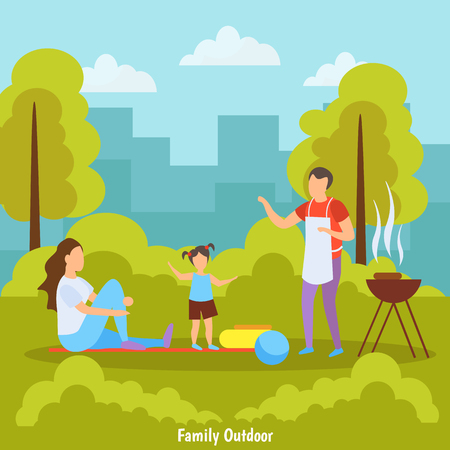Family summer outdoor activities orthogonal composition with barbecue picnic in park with city skyline background vector illustration