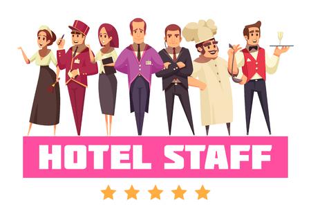 Composición de fondo del hotel con un conjunto de personajes humanos planos de estilo de dibujos animados con trabajadores del hotel e ilustración de vector de texto Ilustración de vector