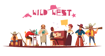 Wild west saloon background composition with cartoon style human characters thought bubbles and decorative text vector illustration