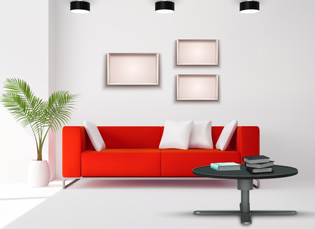 Living room space image with red sofa complemented white black interior details realistic home design vector illustration