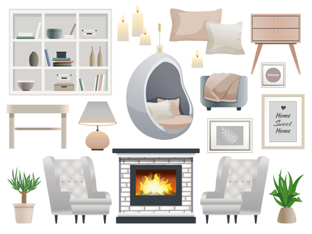 Danish hygge style cozy warming interiors  design elements set with fireplace candles light comfortable furniture vector illustration
