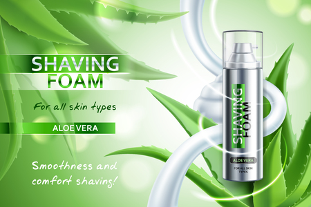 Realistic shaving foam with aloe vera advertising composition on blurred green background with plant leaves vector illustration Иллюстрация