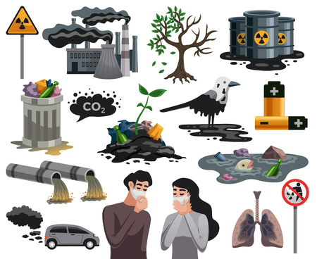 Ecological disasters flat images set with air water pollution hazardous waste related health problems isolated vector illustration Ilustração