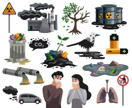 Ecologische rampen vlakke afbeeldingen set met lucht waterverontreiniging gevaarlijk afval gerelateerde gezondheidsproblemen geïsoleerde vector illustratie Vector Illustratie