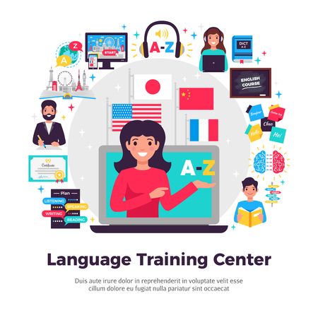 Foreign language training center advertisement flat composition with tutor online learning programs methods symbols apps vector illustration Foto de archivo - 106198693