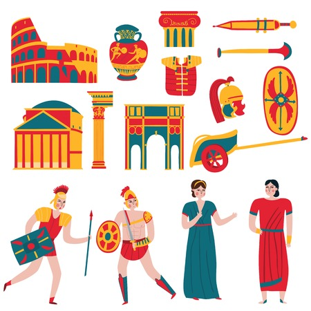 Ancient rome empire set of isolated icons and flat human characters of legionary warriors and people vector illustration