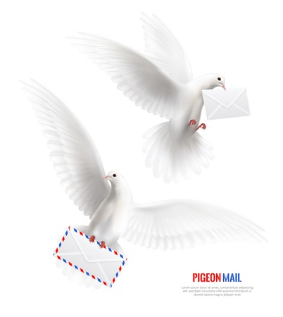 White pigeons set with pigeon mail symbols realistic isolated vector illustration Çizim