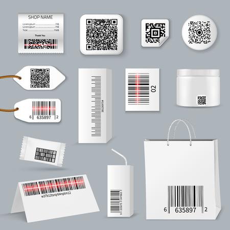Il codice a barre qr realistico isolato utilizzando l'icona di scansione imposta diversi tipi di dimensioni e la loro illustrazione vettoriale dell'applicazione