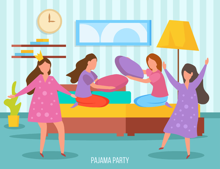 Girls friendship sleepover orthogonal composition with young ladies dancing and  pillow fight at pajama party vector illustration