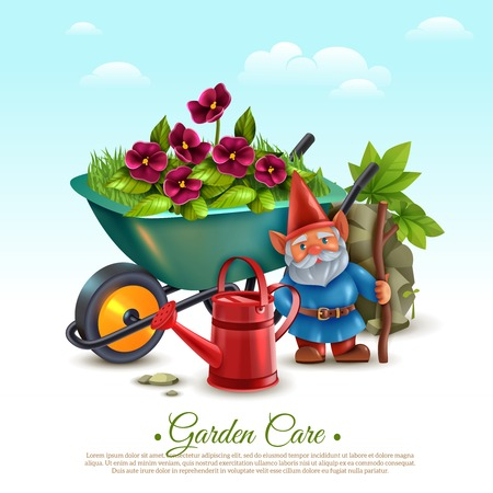 Garden maintenance classic vintage style colorful composition with wheelbarrow flowering plants watering can and gnome vector illustration