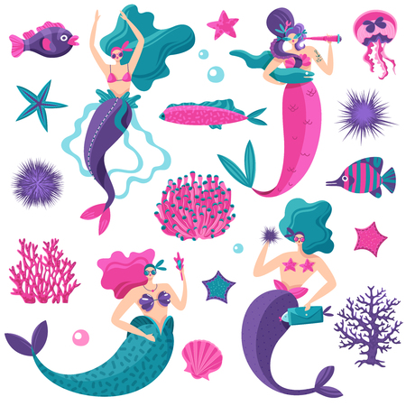 Bright pink petrol violet fantastic sea elements set with mermaids starfish jellyfish fish coral reefs vector illustration