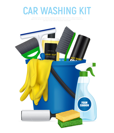 Car washing kit realistic composition with bucket full with auto cleaning accessories soap foam brushes vector illustration