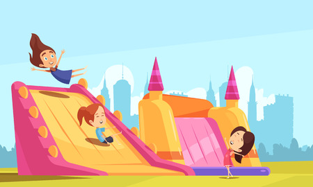 Jumping trampolines composition of teenage girls on trampoline bouncy castles with flat cityscape background and sky vector illustration