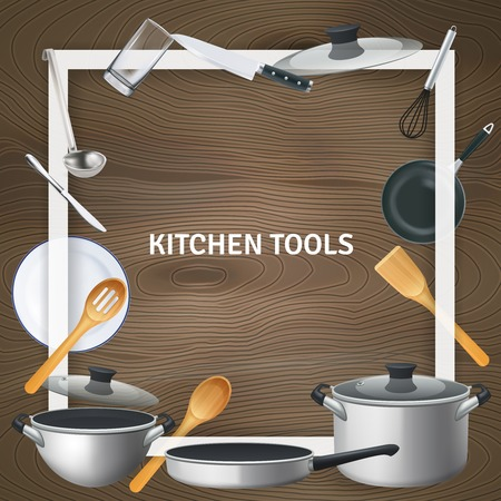 Biała ozdobna kwadratowa rama z realistycznymi narzędziami kuchennymi na drewnianej tekstury tła ilustracji wektorowych